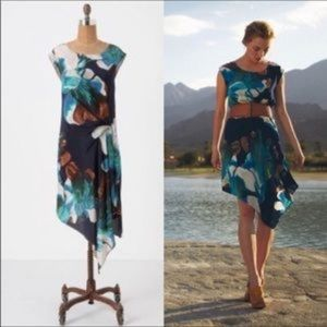 Anthropologie-Coquille- Floral Silk Hi Lo Dress